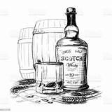 Whiskey Whisky Bottle Scotch Drawing Glass Barley Alcohol Ink Glas Tekening Some Met Verre Abuse Och Casks Ears Grains Bouteille sketch template