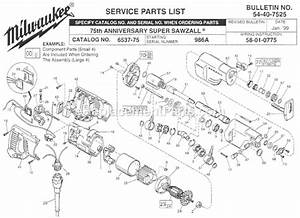 Milwaukee 6537-75 Parts List And Diagram