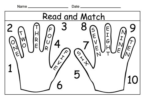 read and match printable number words from 1 to 10