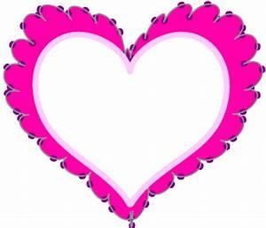 Hot Pink Lace Heart Frame Border Clip Art