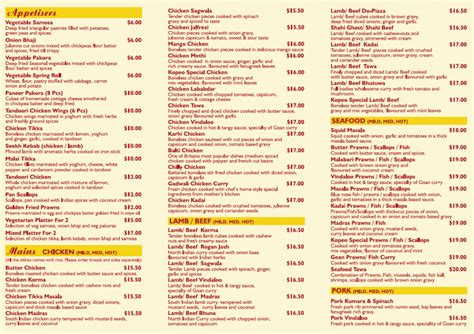 indian cuisine menu kopeo indian restaurant bar takeaway whakatane information