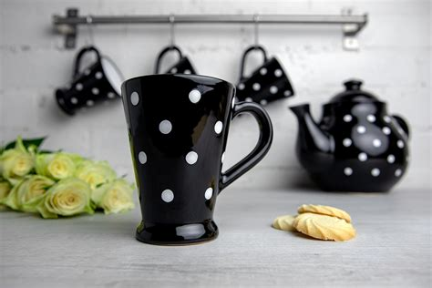 Browse our wide coffee mug collection to enjoy your favourite hot drink. Black And White Polka Dot Spotty Handmade Hand Painted Ceramic Coffee Tea Latte Mug with Large ...