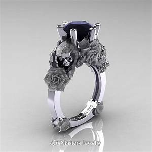 love and sorrow 14k white gold 30 ct black diamond skull With diamond skull wedding rings