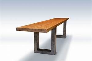 Buy Hand Made Modern Teak Bench With Metal Legs, made to
