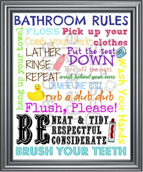 Items Similar To Bathroom Rules Kids Bathroom Rules Subway