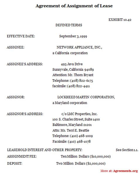 termination of assignment of leases and rents form agreement of assignment of lease sle agreement of