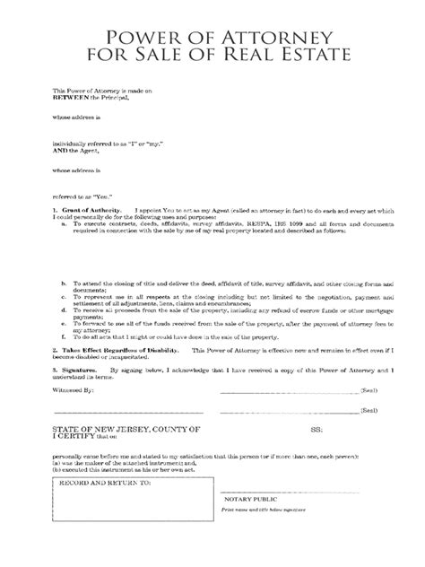 real estate power  attorney form   templates