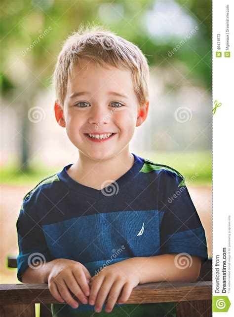 Cute Blonde Boy Stock Image Haired Smiling