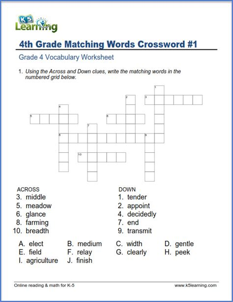 grade 4 vocabulary worksheet synonyms crossword puzzle