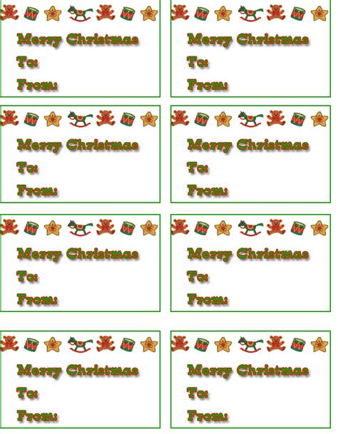 7 best images of free printable christmas tags templates