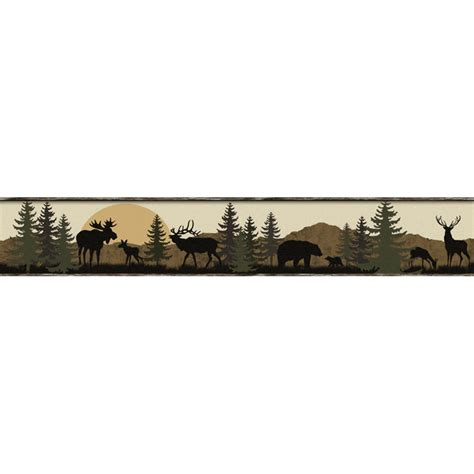 wildlife scenic silhouette wallpaper border