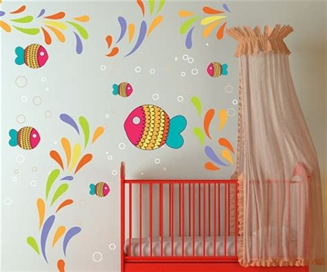 colorful fish  sea life wall decal kit nursery room
