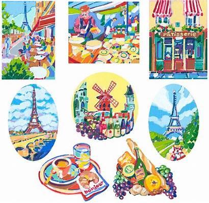 Paris Themed Paintings Acrylic Bonjour Parisian Illustrations
