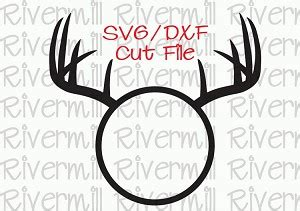 svg dxf deer antlers circle monogram frame cut file