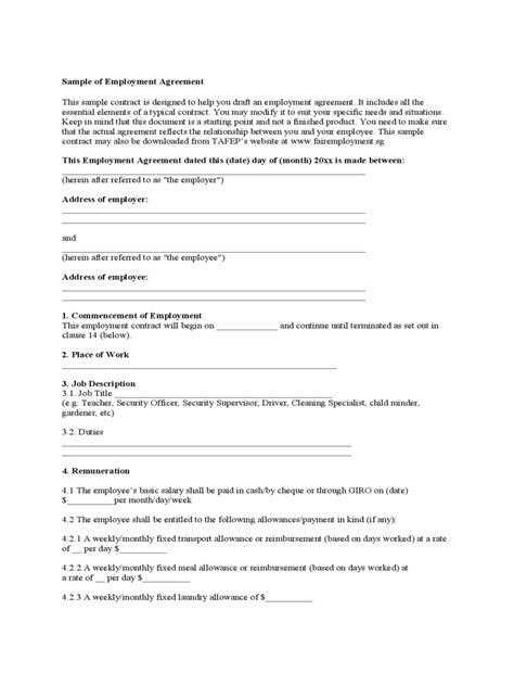 Employment Agreement Form - 8 Free Templates in PDF, Word