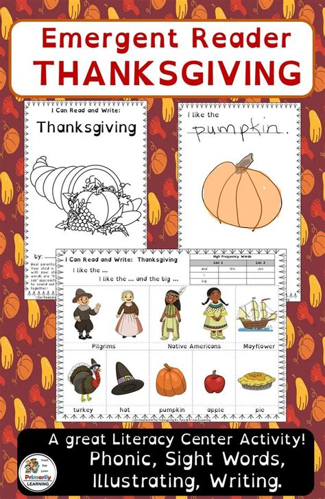 thanksgiving emergent readers sassoon font  images