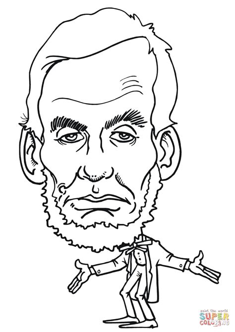 abraham lincoln caricature coloring page  printable