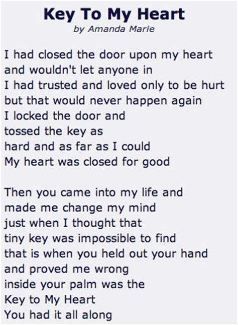 key to my heart poems quotes