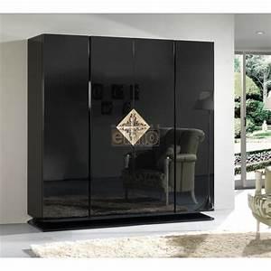Armoire Noir Et Blanc : armoire 4 portes laque brillante blanc noir et or gold2 ~ Preciouscoupons.com Idées de Décoration