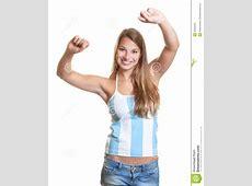 Cheering Female Argentinian Football Fan Royalty Free