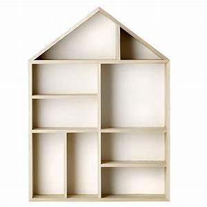Etagere Murale En Bois : etag re murale maison en bois naturel et fond blanc 9 box ~ Dailycaller-alerts.com Idées de Décoration