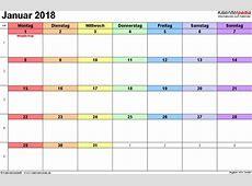 Kalender Januar 2018 als PDFVorlagen