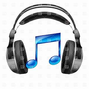 Realistic headphones and musical note Royalty Free Vector ...