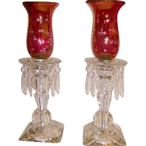 antique hurricane l shades vintage pair crystal cranberry hurricane shade ls from