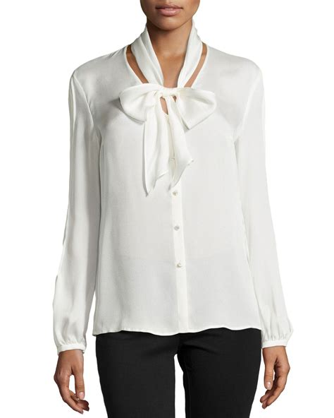 tie neck blouses lyst escada sleeve tie neck silk blouse in white