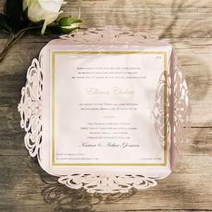romantic blush pink laser cut gold foil stamped wedding With foil stamped wedding invitations uk