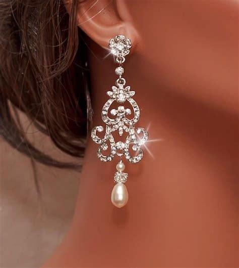 bridal rhinestone earrings ivory pearl earrings
