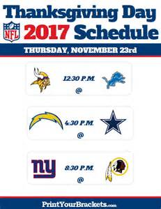 nfl thanksgiving day football schedule 2017 printable