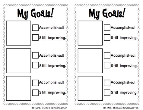 student goal setting template mrs ricca s kindergarten goal setting checklist freebie