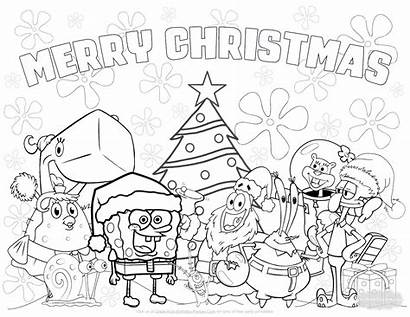 Birthday Coloring Christmas Pages Spongebob Parties