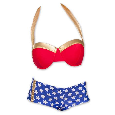 wonder woman bikini shorts underwire combo swimsuit suit bathing piece bikinis swim swimsuits superheroden uploaded bustier