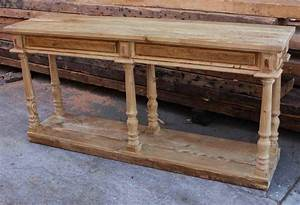 Hand Crafted Reclaimed Wood Console Table With Turned Legs