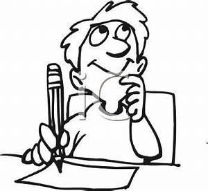 Boy student using imagination to write story or essay