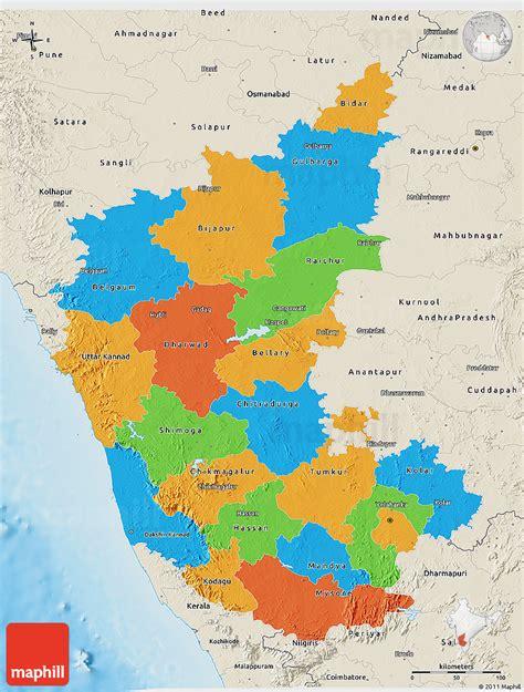 political  map  karnataka shaded relief