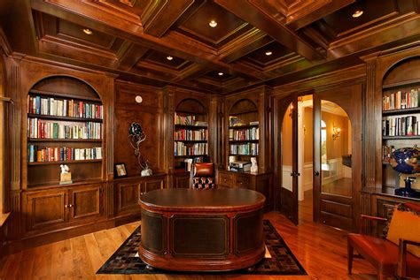 traditional home officelibrary  dark paneling
