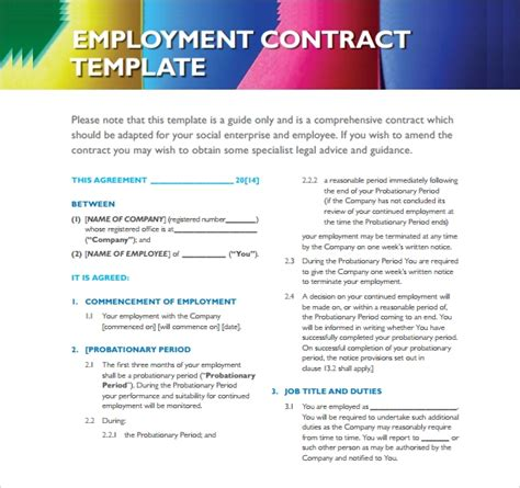 sample employment contract templates