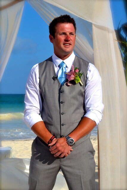 Groom Beach Wedding Attire Gray Vest With Blue Tie
