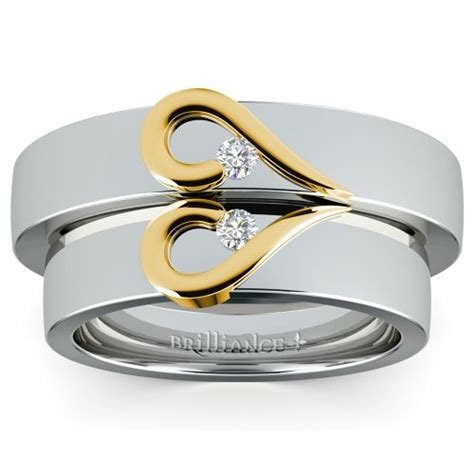 matching curled heart diamond wedding ring set in white