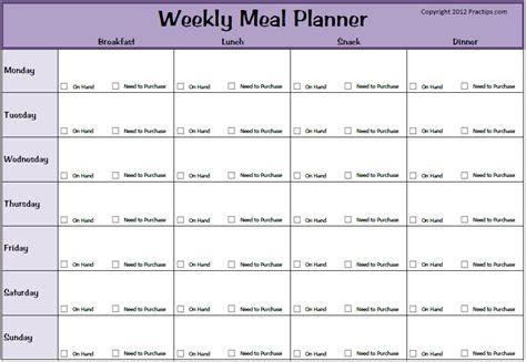free weekly meal planner template practips free weekly meal planner