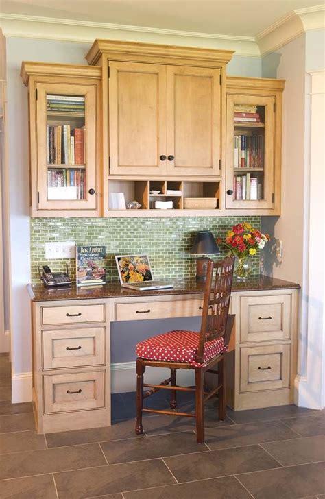 Kitchen Desk Backsplash Ideas desk area with tile backsplash crown molding for the