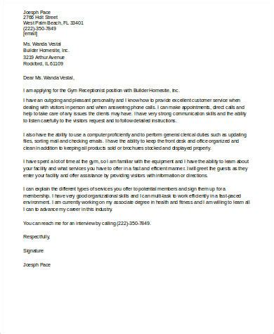 sample cover letter  receptionist  examples  word