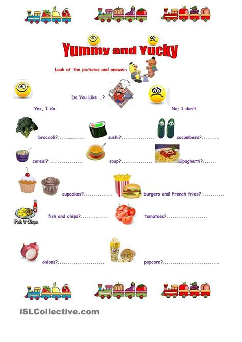 yummy yucky esl worksheet   day  april