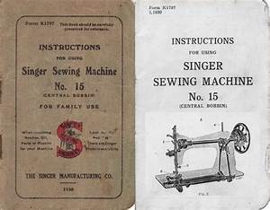 Manual For Singer Sewing Machine No 15