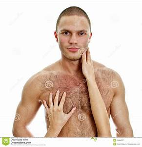 Woman's Hands Touching Man's Chest. Royalty Free Stock ...