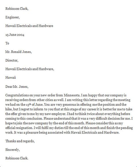 formal resignation letters