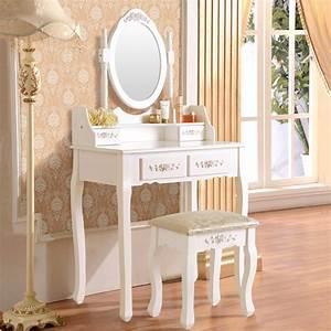 Uenjoy, Wood, Makeup, Vanity, Table, And, Stool, Set, Makeup, Desk, Dressing, Table, With, 4, Drawers, U0026mirror